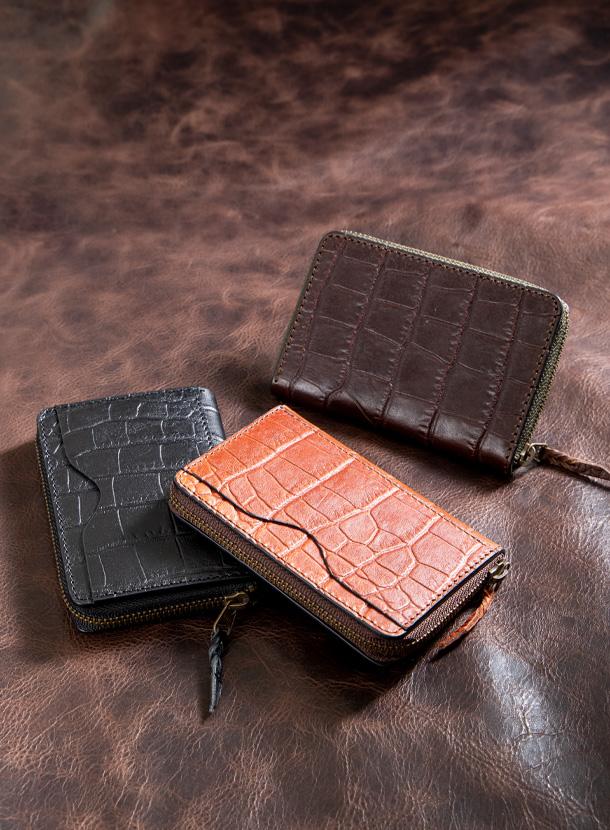 コインケース 角型(外ポケット付き)マットクロコ