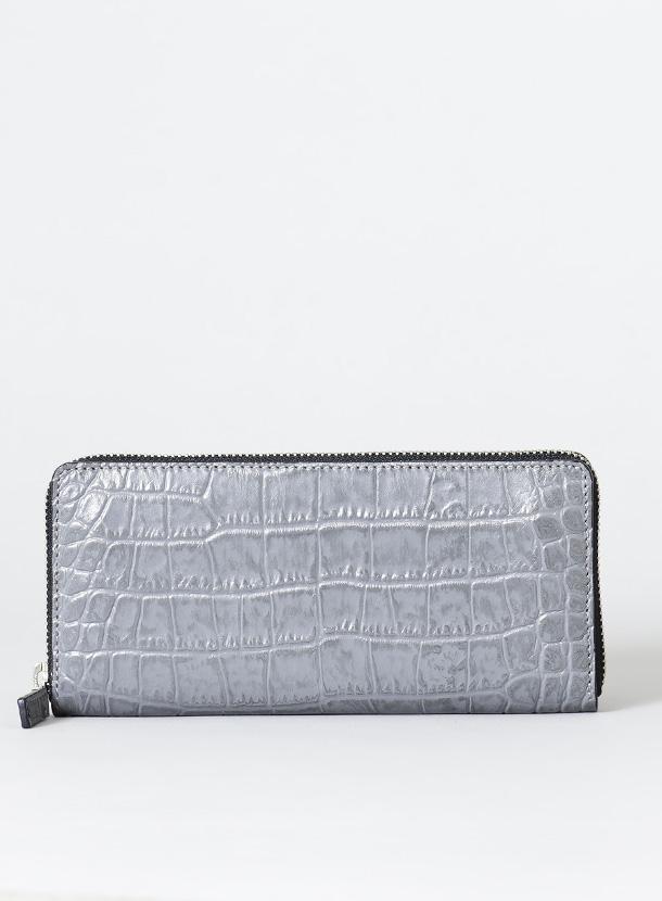 ファスナー長財布(角型 標準タイプ)クロコ型押レザー